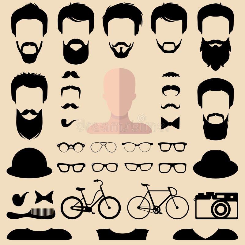 大传染媒介套装饰用不同的人行家理发、玻璃,胡子等的建设者 男性面对象创作者 库存例证