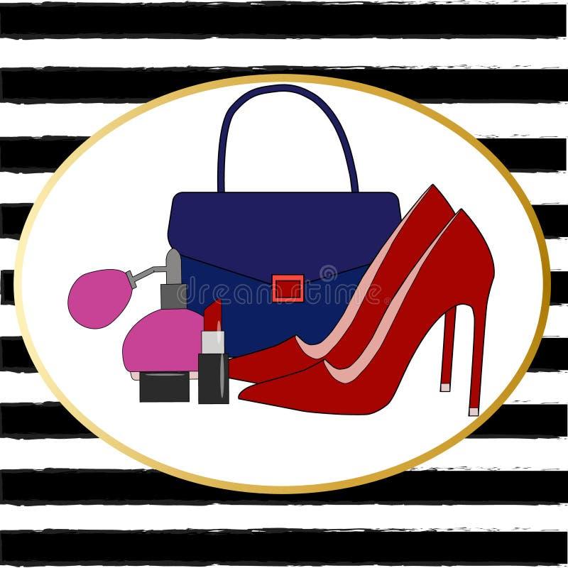 大传染媒介时尚剪影集合 手拉的图表嘴唇,眼睛,脚跟,香水, 库存例证