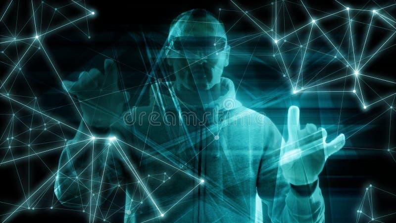 大保障系统,计算机编码数字深刻的学习的数字技术算法词,抽象构想 皇族释放例证