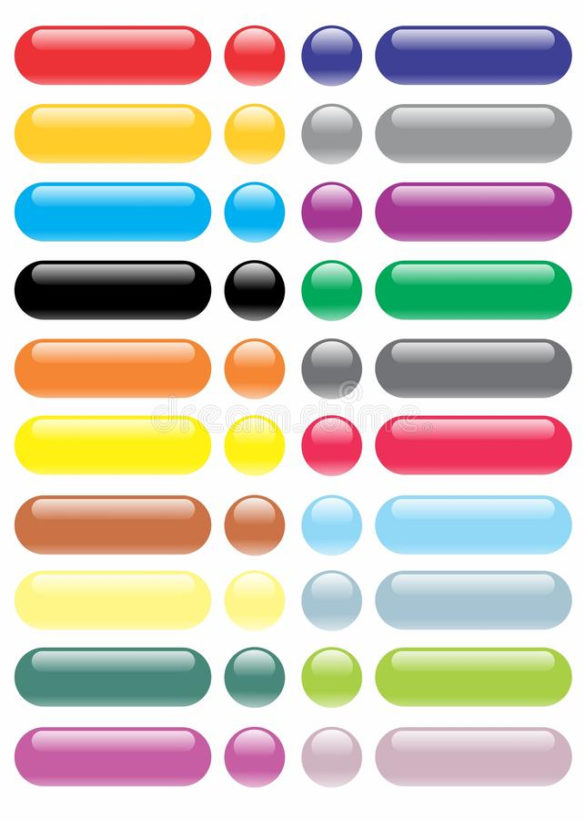 大光滑的Botton收藏/完整色彩 库存例证