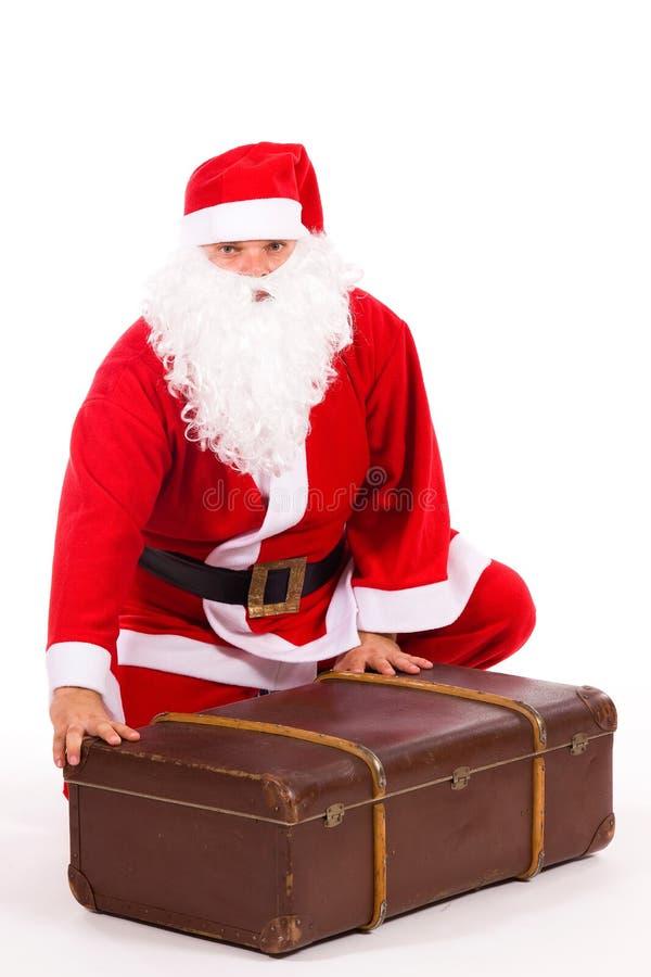 大克劳斯・圣诞老人手提箱 图库摄影