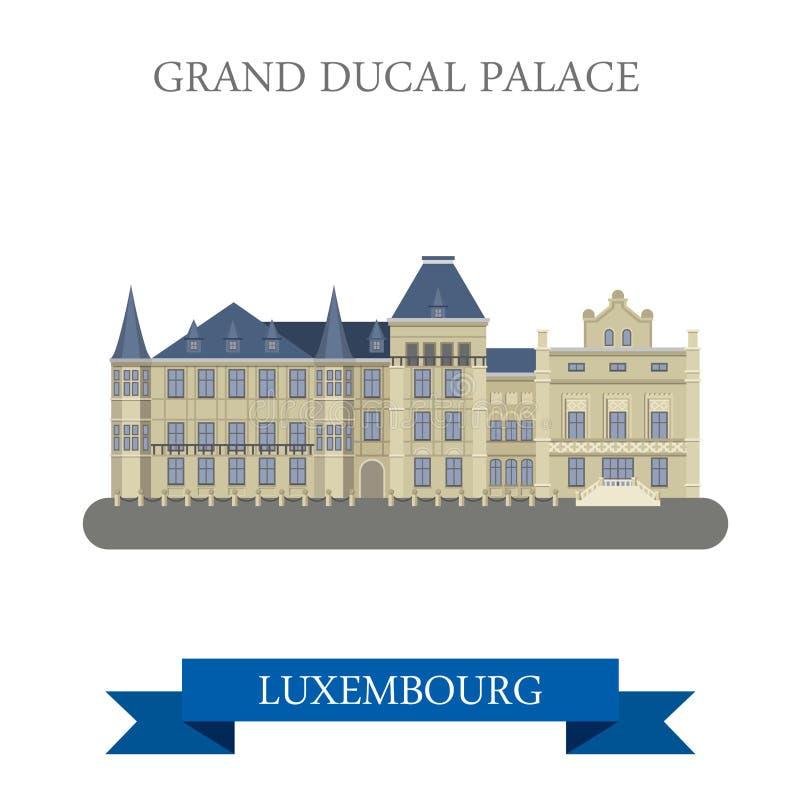 大公宫殿Luxembourgflat传染媒介吸引力地标 向量例证