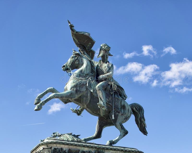 大公爵查尔斯雕象Heldensplatz的在维也纳,奥地利 免版税库存图片