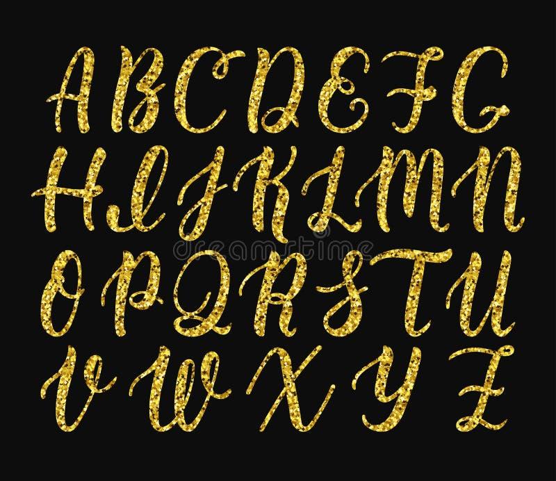 大写字母手写的拉丁书法刷子剧本  金子闪烁字母表 向量 皇族释放例证