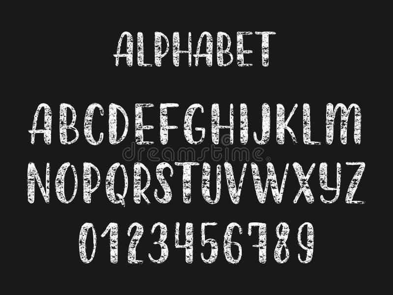 大写字母白垩手拉的拉丁现代书法刷子字母表  向量 向量例证