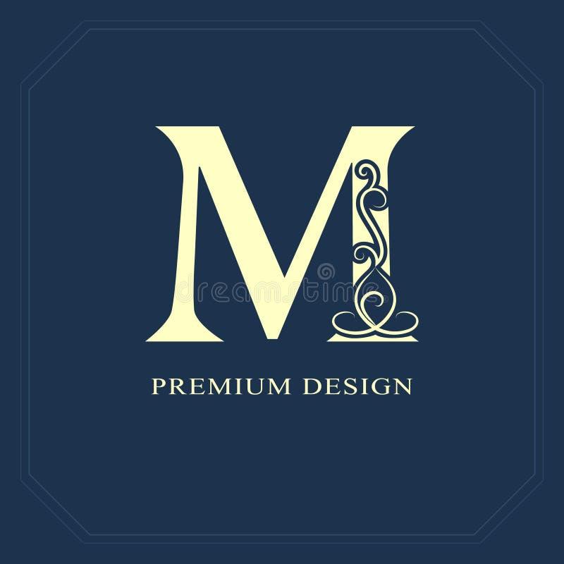 大写字母M 与磁带的书法美好的商标标签的 优美的样式 葡萄酒书设计的被画的象征,品牌na 皇族释放例证