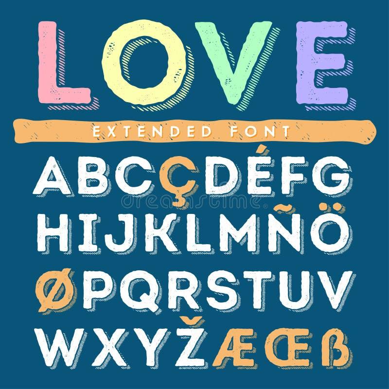 以大写设置的滑稽的手拉的字母表 皇族释放例证