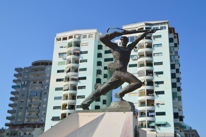 大军事纪念碑在都拉斯 免版税库存图片