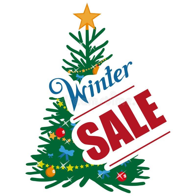 大冬天销售横幅,与新年或圣诞节设计元素 圣诞节购物 新年` s假日 冬天销售海报 向量例证