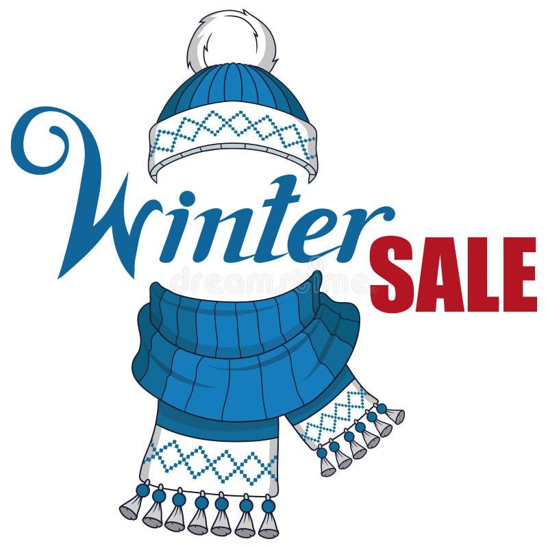 大冬天销售横幅,与新年或圣诞节设计元素 圣诞节购物 新年` s假日 冬天销售海报 皇族释放例证