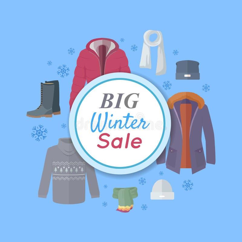大冬天销售 冬天给网横幅海报穿衣 向量例证