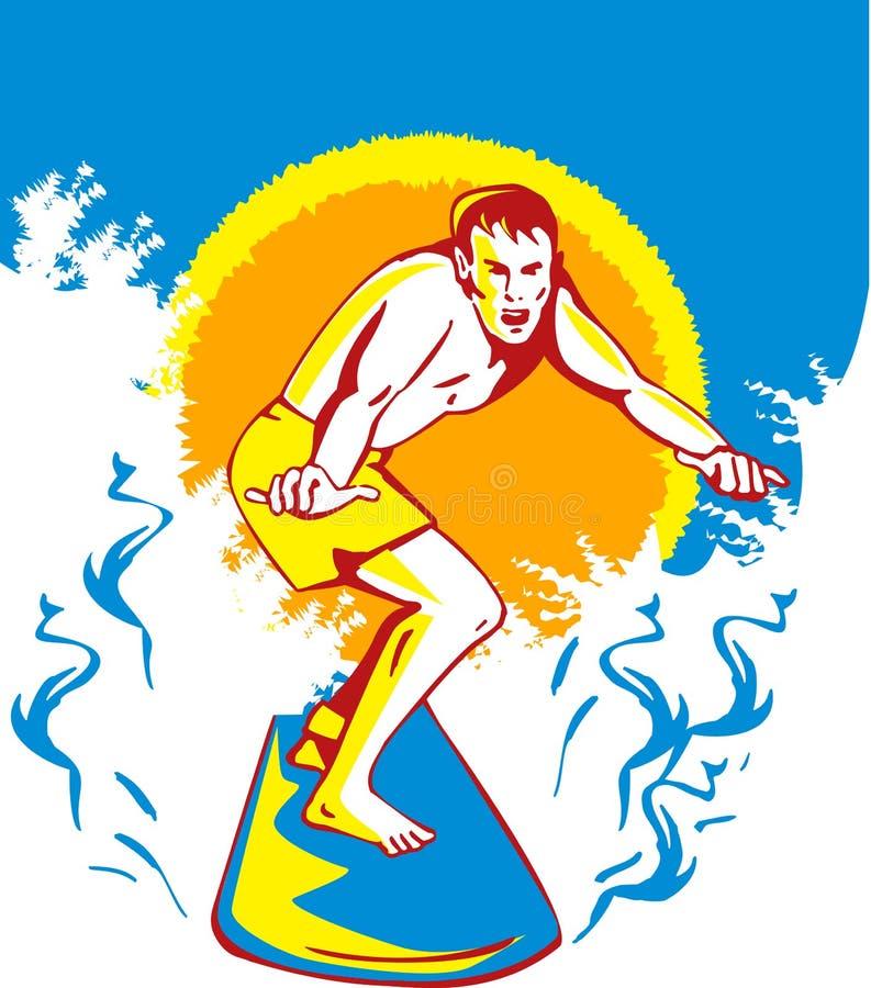 大冲浪者冲浪的通知 库存照片