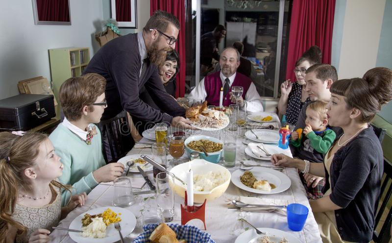 大减速火箭的家庭感恩晚餐土耳其 图库摄影