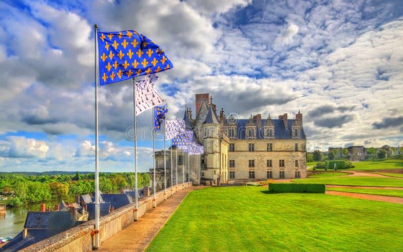 大别墅d `昂布瓦斯,其中一座城堡在卢瓦尔河流域-法国 免版税库存照片