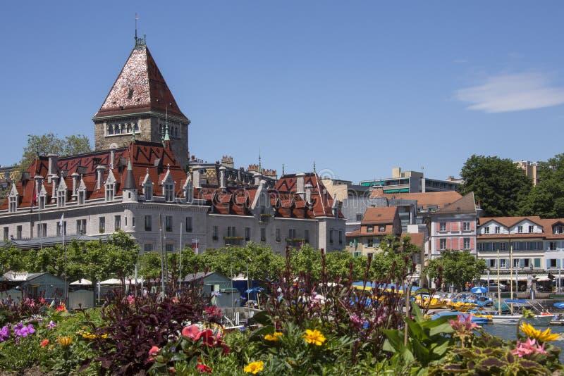大别墅d'Ouchy -湖吉恩威-瑞士。 库存照片