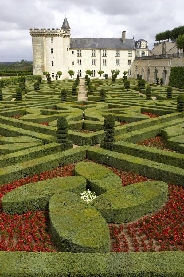 大别墅de正式法国从事园艺villandry的Loire Valley 免版税库存照片