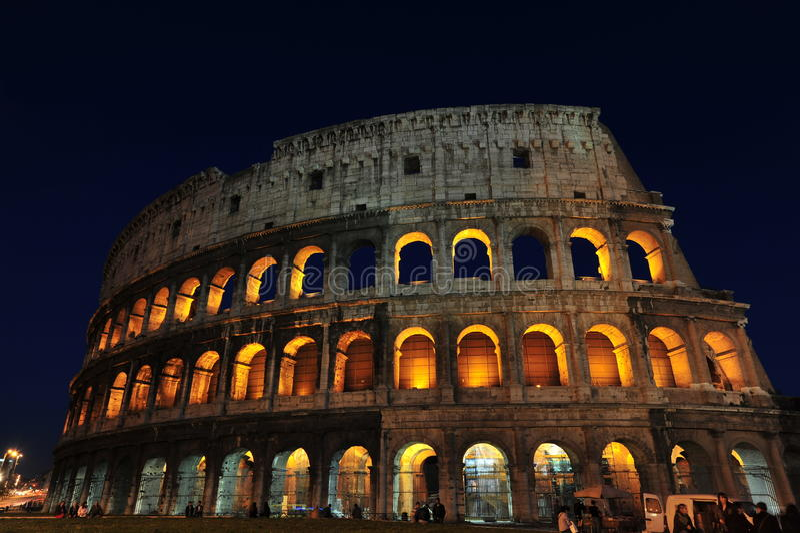 大剧场魔术晚上罗马 免版税图库摄影