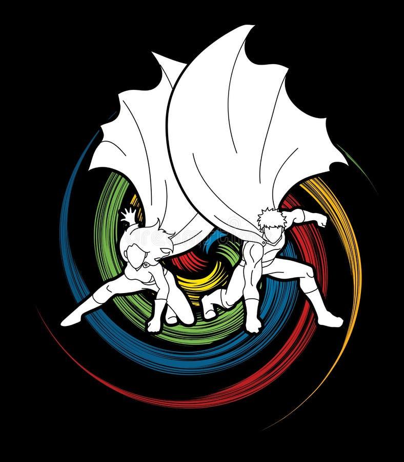 大力士和妇女,登陆强有力的行动的夫妇超级英雄 向量例证