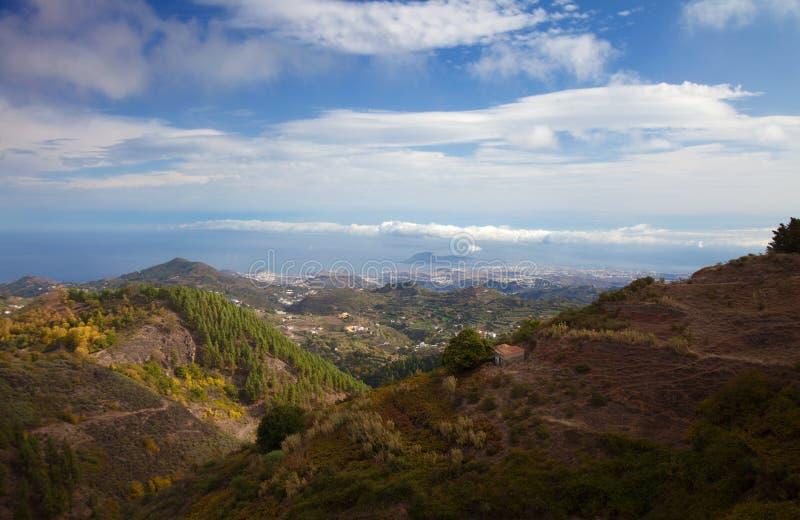 大加那利岛,从中央山的鸟瞰图往Las好朋友 库存照片