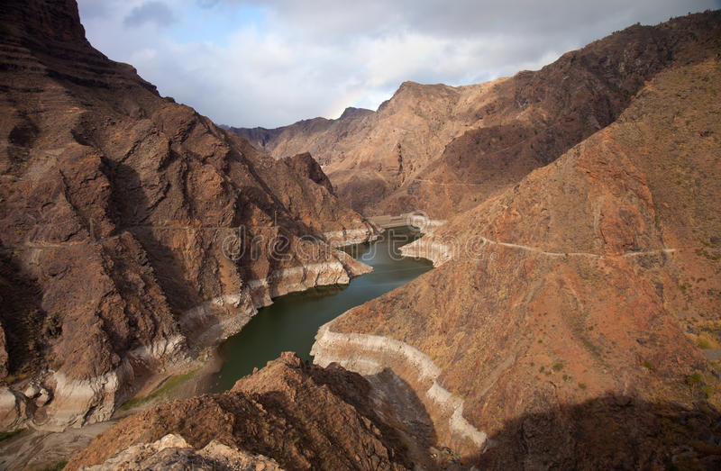 大加那利岛, Barranco de Aldea,水坝Presa de Parrarillo 免版税库存照片