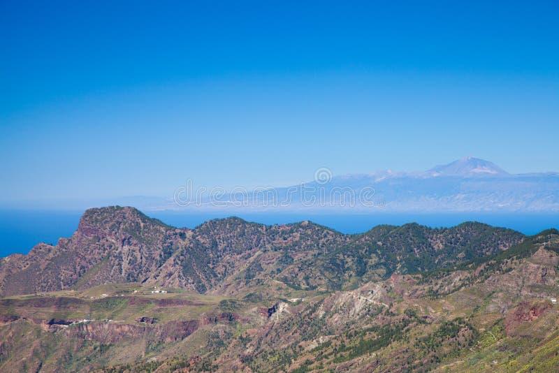 大加那利岛,从Cruz往特内里费岛的de特赫达的看法 免版税库存图片