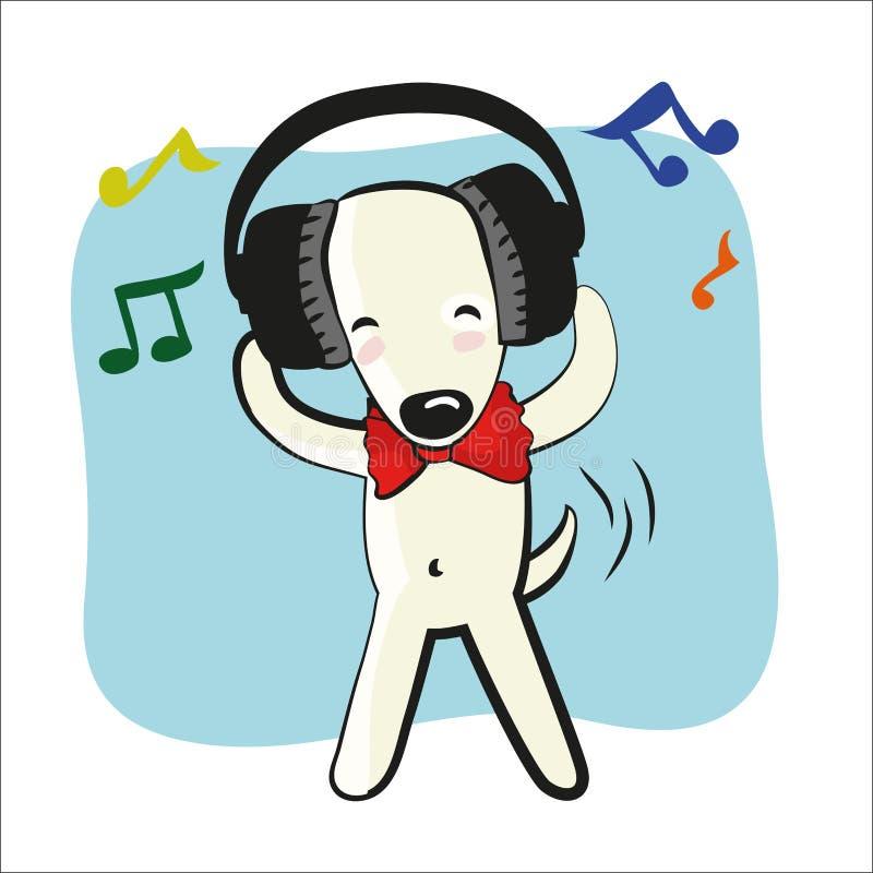 大动画片狗滑稽的耳机 库存例证