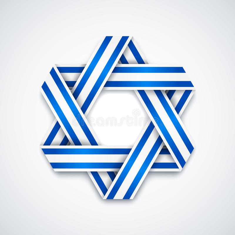 大卫王之星做了与以色列旗子条纹的交错的丝带 库存例证