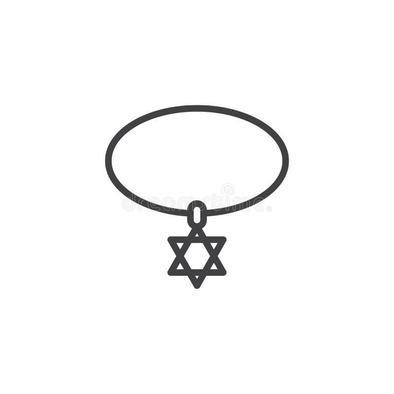 大卫王之星项链概述象 向量例证