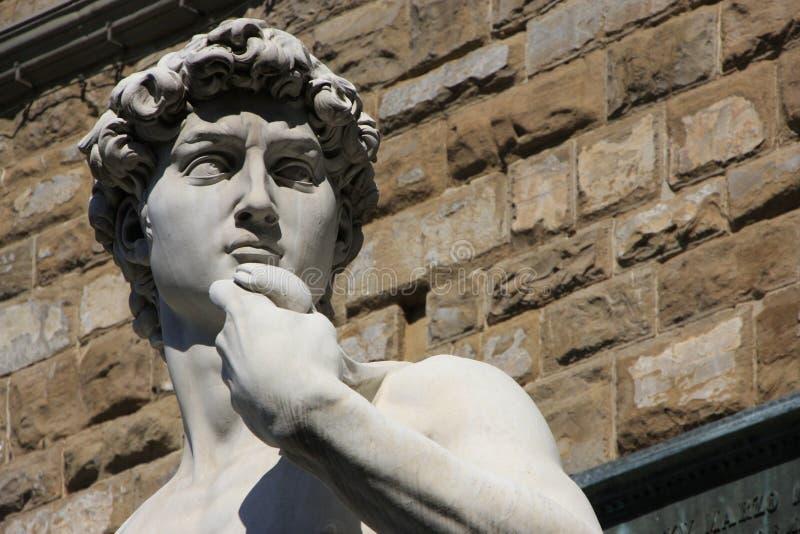 大卫雕象详细资料,米开朗基罗, Floren 免版税库存照片