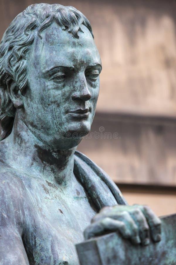 大卫・休谟雕象在爱丁堡 图库摄影