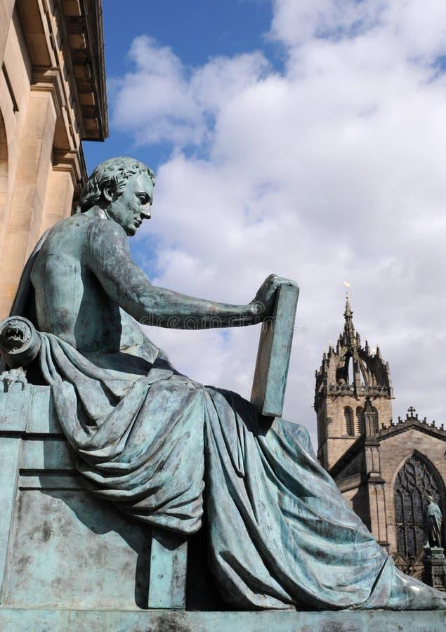 大卫Hume,爱丁堡雕象  图库摄影
