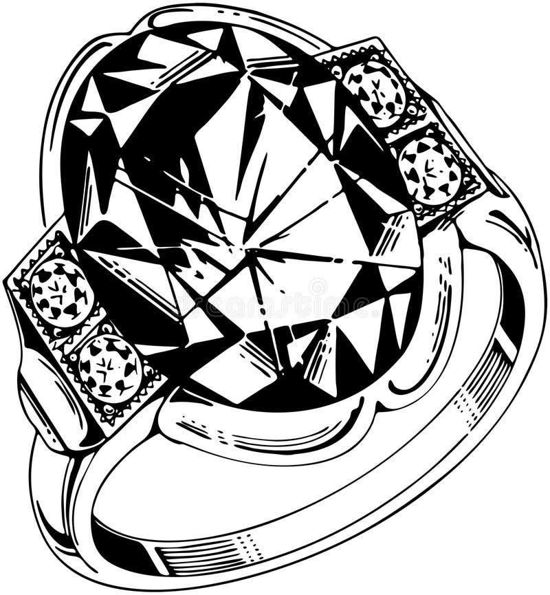 大卵形宝石圆环 向量例证