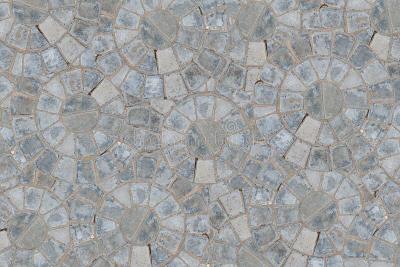 大卵石圆样式块路面纹理背景 顶视图 免版税库存照片