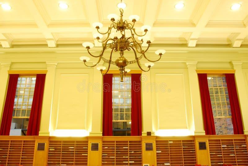 大厅内部图书馆研究大学 库存照片