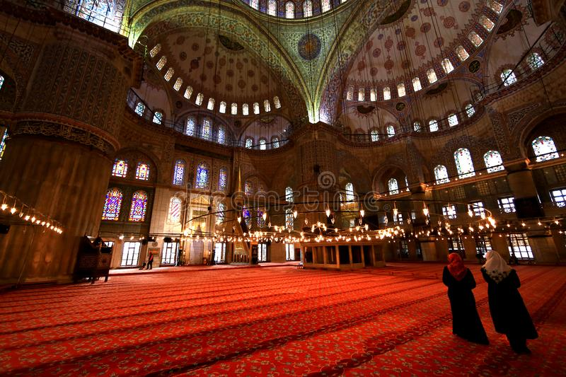 大厅在蓝色清真寺 免版税库存图片