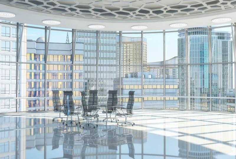 大厅的内部有大窗口的和玻璃会议桌和扶手椅子 向量例证