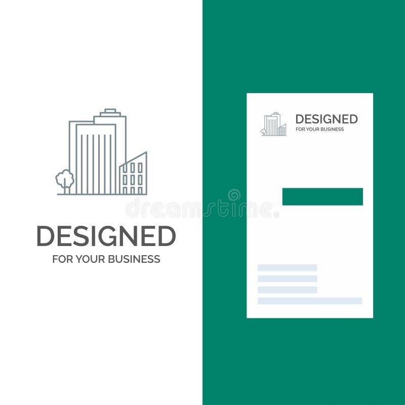大厦、修造、宿舍、塔、不动产灰色商标设计和名片模板 库存例证
