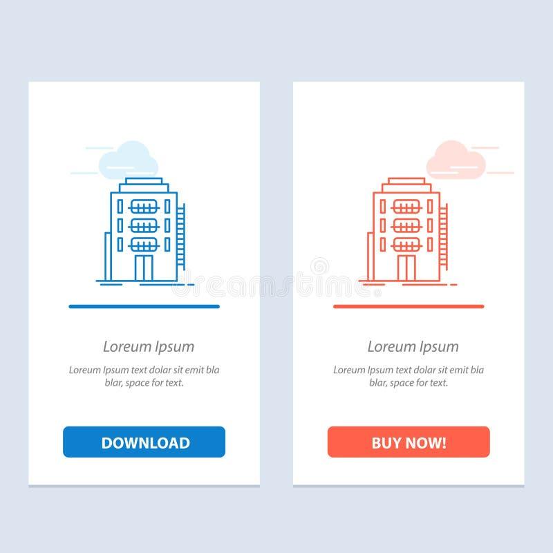 大厦、城市、宿舍、旅舍、旅馆蓝色和红色下载和现在买网装饰物卡片模板 向量例证