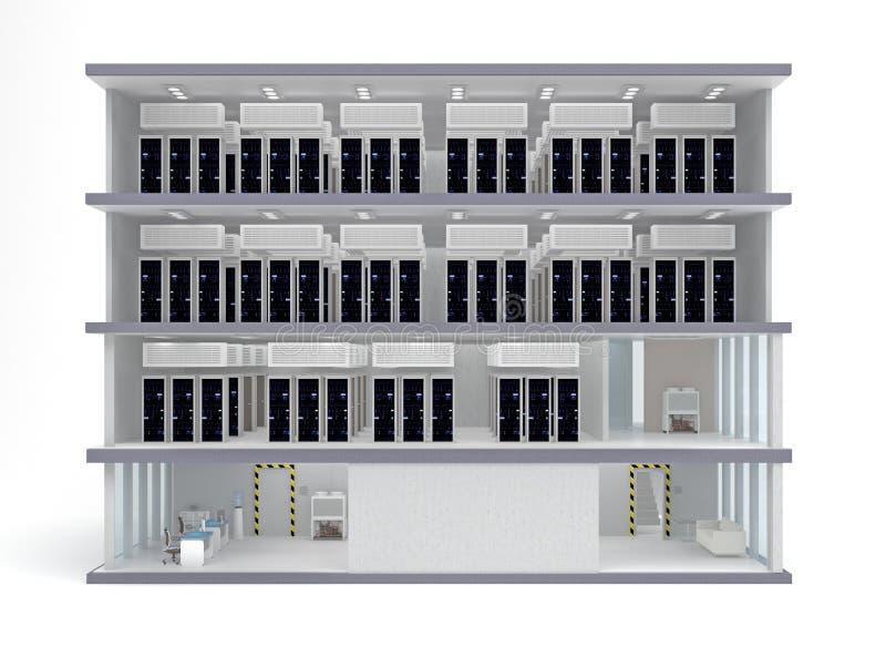 大厦与地板的数据中心在部分 库存例证
