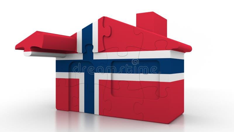 大厦以挪威的旗子为特色的难题房子 挪威移出、建筑或者不动产市场概念性3D 库存例证