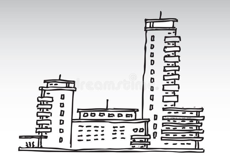大厦住宅凹道的现有量 向量例证
