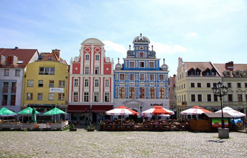 大厦俏丽的门面在什切青老镇,波兰 免版税库存图片