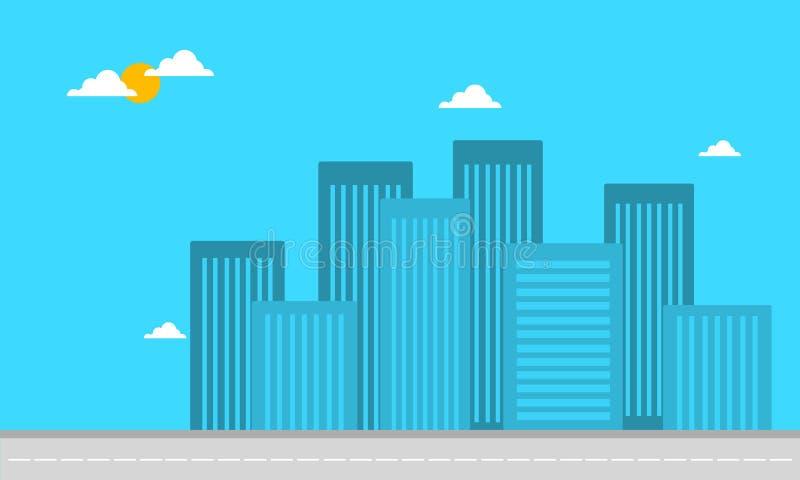 大厦公寓风景剪影  向量例证