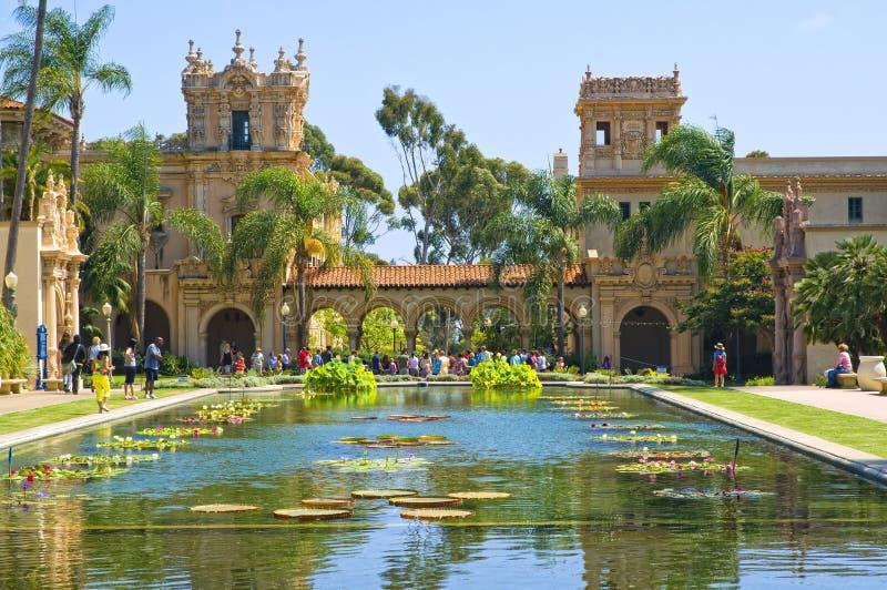 大厦反射圣的地亚哥池塘 免版税库存照片