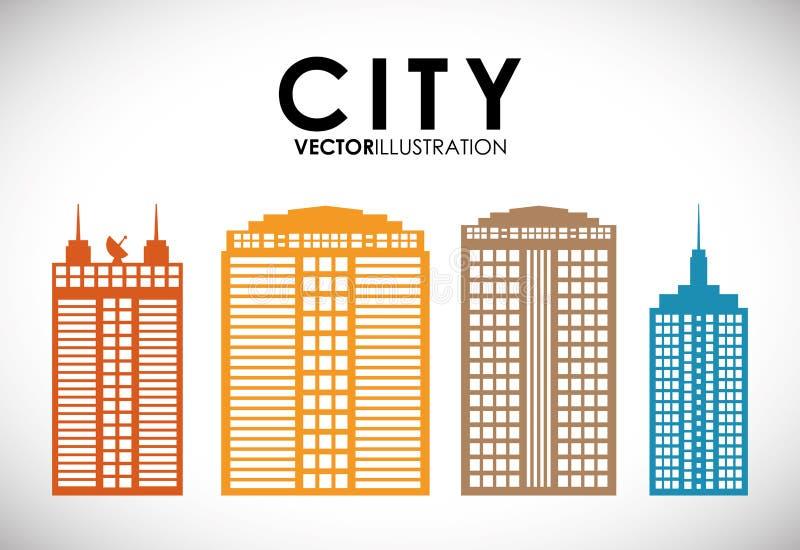 大厦和塔象 城市设计 背景装饰图象风格化漩涡向量挥动 向量例证