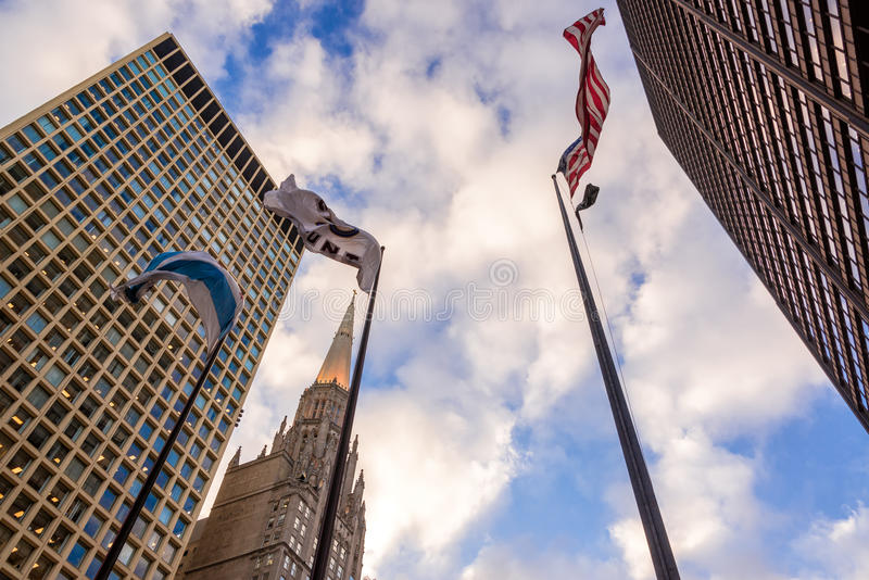 大厦和旗子 库存照片