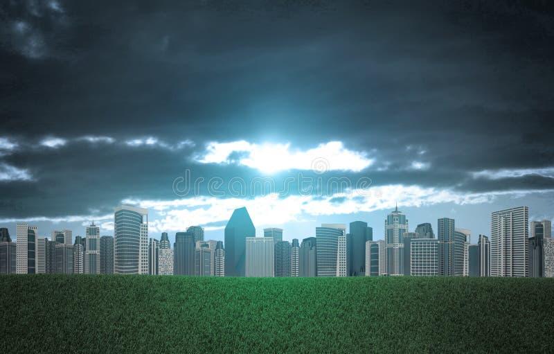 大厦和绿草领域 免版税库存照片