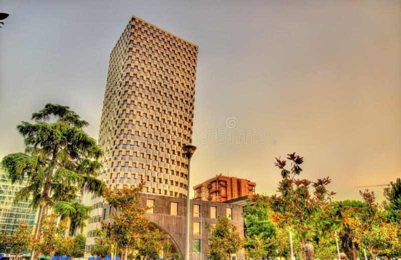 大厦在地拉纳的市中心 库存照片