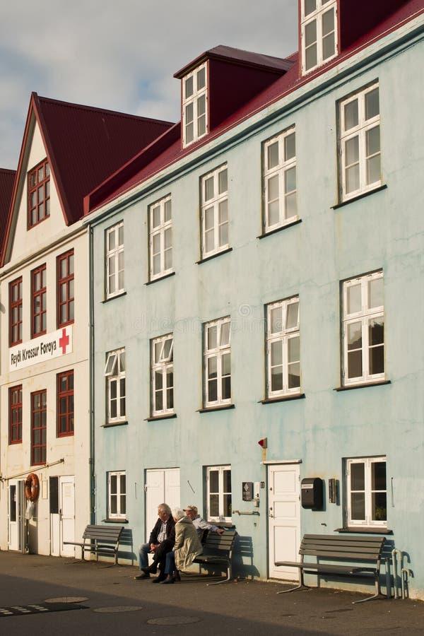 大厦在法罗群岛资本老镇 免版税库存图片