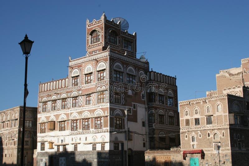 大厦在萨纳,也门 免版税库存图片
